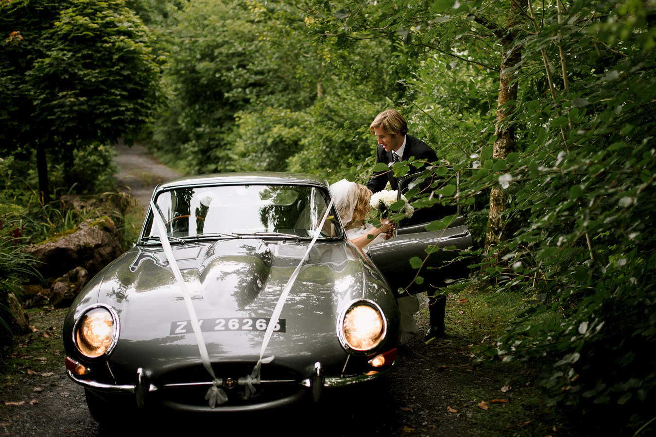 e-type jaguar wedding car