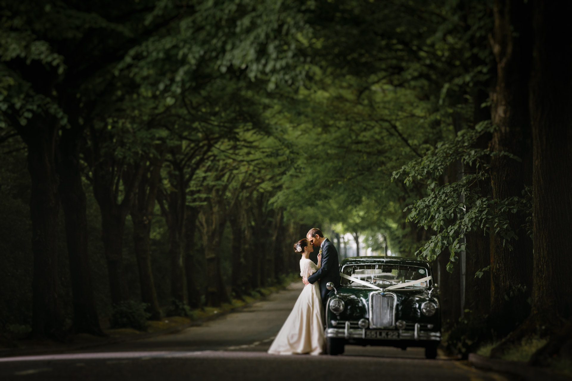 vintage car cork wedding